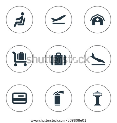 Set Of 9 Simple Travel Icons. Can Be Found Such Elements As Protection Tool, Alighting Plane, Garage And Other.