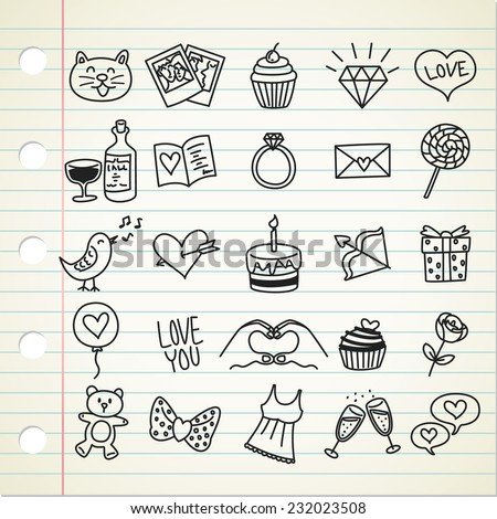 set of simple valentine icon in