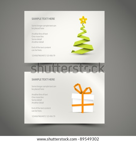 Set of Simple vector christmas decoration made from paper stripe - original new year card