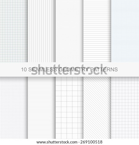 Set of simple vector geometry patterns.Seamless backgrounds