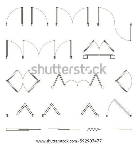 Set of simple vector icons as design elements - wall, door, sliding doors. Top view, construction symbols used in architecture plans, graphic design elements. Vector illustration.