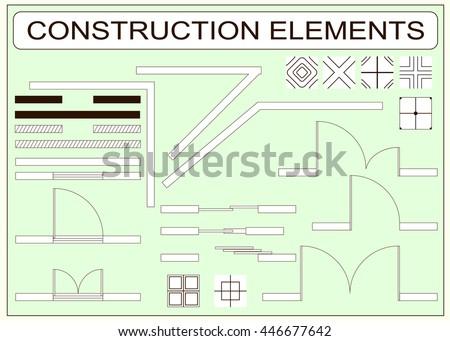 Set of simple vector icons as design elements - wall, window, door, sliding doors, tiles samples