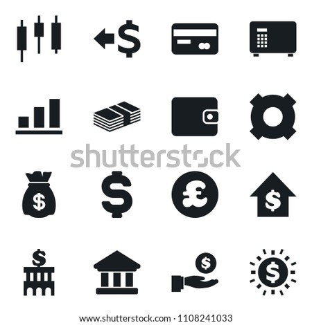 Set of simple vector isolated icons dollar sign vector, money bag, wallet, credit card, back, bank, japanese candle, investment, growth, building, safe, any currency, pound, graph, coin
