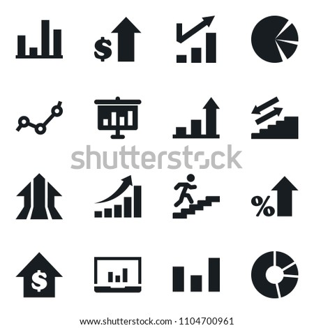 Set of simple vector isolated icons growth chart vector, graph, laptop, percent, dollar, stairways run, arrow, presentation, point, circle