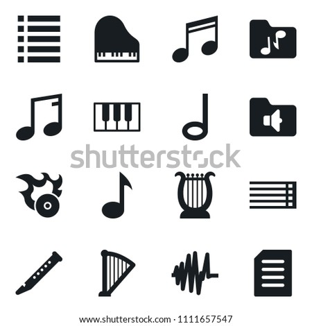 Set of simple vector isolated icons music vector, note, musical staff, piano keys, harp, flute, sound graph, folder, hit, playlist
