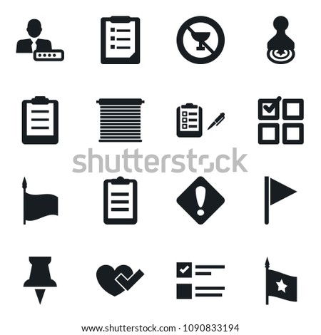 Set of simple vector isolated icons stamp vector, heart check, clipboard, exam, no alcohol sign, flag, drawing pin, login, attention, jalousie
