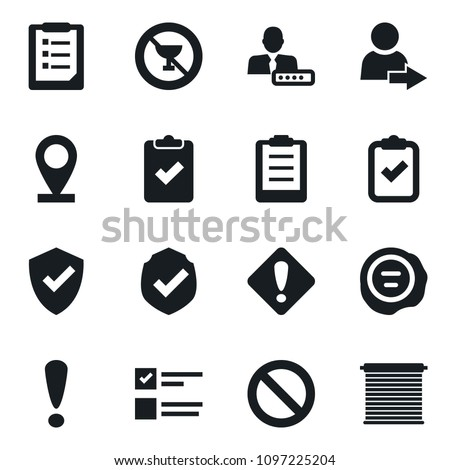 Set of simple vector isolated icons stamp vector, protect, clipboard, exam, prohibition sign, no alcohol, check, login, attention, pin, jalousie