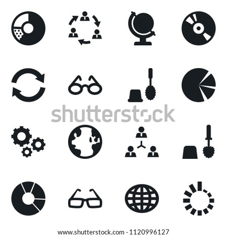 Set of simple vector isolated icons toilet brush vector, circle chart, glasses, world, cd, gears, globe, staff, graph, refresh, loading
