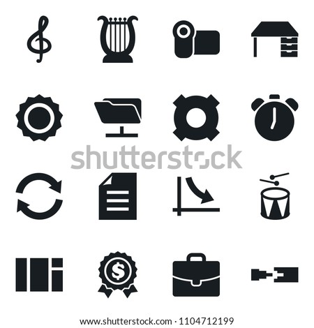Set of simple vector isolated icons work desk vector, document, crisis graph, alarm clock, dollar medal, any currency, video camera, window, nuclear fusion, case, treble clef, harp, drum, refresh