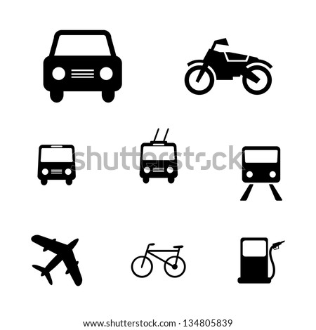 Set of simple vector transport icons