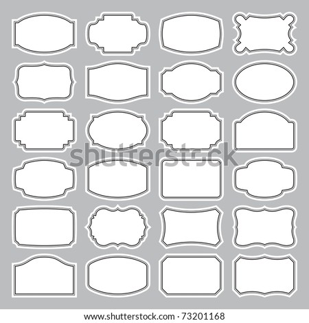 Set of 24 simple vintage labels, vector illustration. Blank frames of various shapes. Elegant black and white background. Simple retro elements for your design.