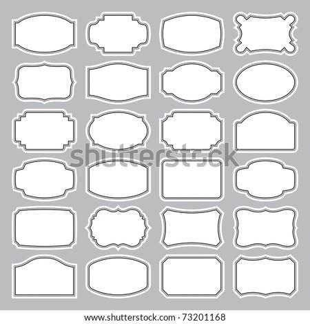 Set of 24 simple vintage labels, vector illustration. Blank frames of various shapes. Elegant black and white background. Simple retro elements for your design.