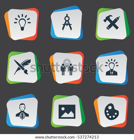 Set Of 9 Simple Visual Art Icons. Can Be Found Such Elements As Business Discussion, Brush, Leader And Other.