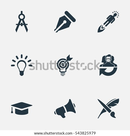 Set Of 9 Simple Visual Art Icons. Can Be Found Such Elements As Dividers, Leadership, Writing Tool And Other.