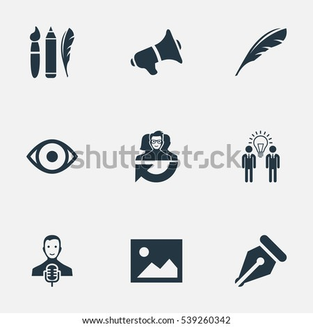 Set Of 9 Simple Visual Art Icons. Can Be Found Such Elements As Image, Bullhorn, Performance And Other.