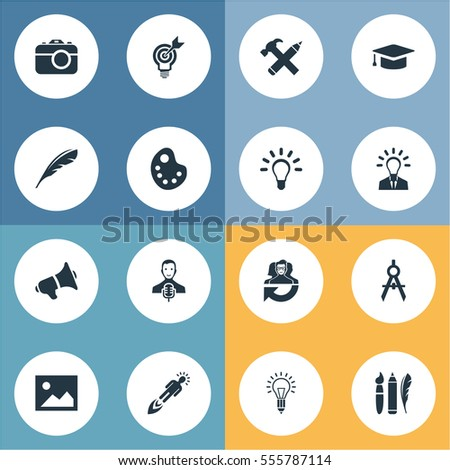 Set Of 16 Simple Visual Art Icons. Can Be Found Such Elements As Plume, Design Instruments, Performance And Other.