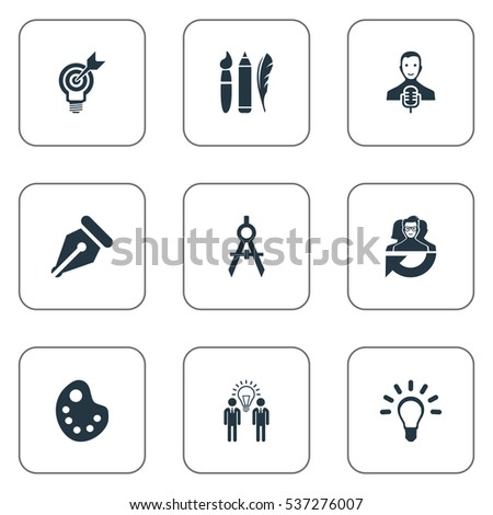 Set Of 9 Simple Visual Art Icons. Can Be Found Such Elements As Project Aim, Dividers, Lightbulb And Other.