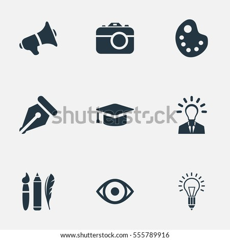 Set Of 9 Simple Visual Art Icons. Can Be Found Such Elements As View, Academic Cap, Leader And Other.