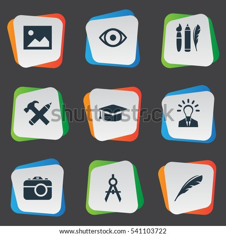 Set Of 9 Simple Visual Art Icons. Can Be Found Such Elements As View, Photo Tool, Design Instruments And Other.