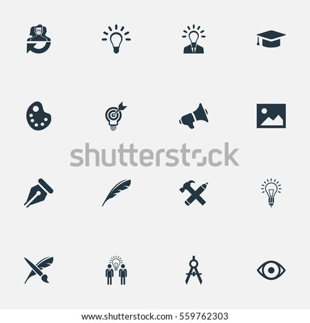 Set Of 16 Simple Visual Art Icons. Can Be Found Such Elements As Writing Tool, Brush, Project Aim And Other.