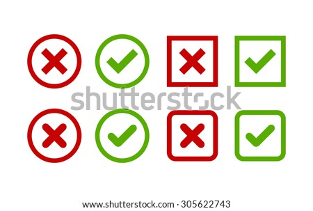 Set of simple web buttons: green check mark and red cross. Circle and square, with sharp and rounded corners.