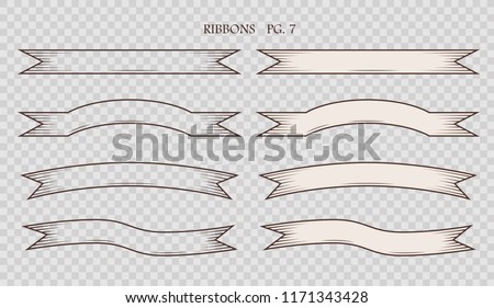 Set of simplified vintage hand drawn ribbons isolated on the sham transparent background. Collection of retro labels, banners and logo elements. Logotype design. Vector illustration.