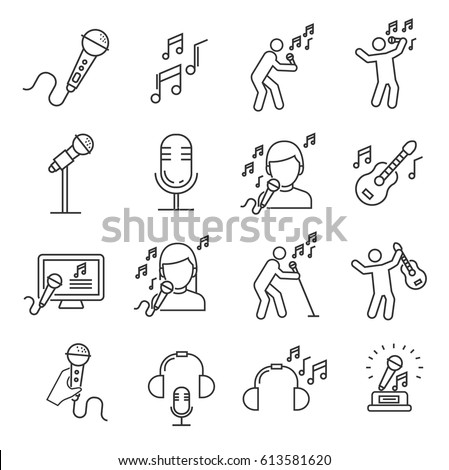 set of singing related vector