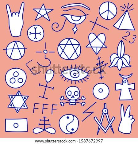 Set of sinister symbols of satanic occultism. Devilish mystical magic signs of Freemasonry. Vector editable illustration