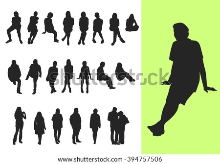 Set of sitting and standing silhouettes
