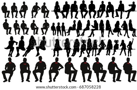set of sitting men women silhouettes