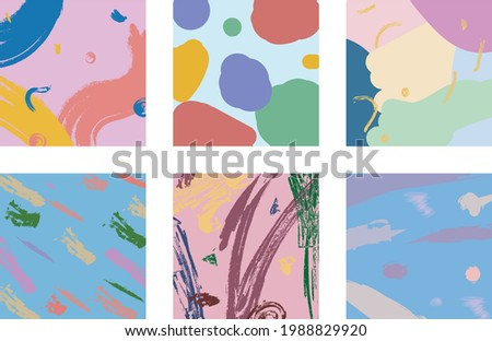 Set of six abstract backgrounds, painting with brush, hand drawn doodle objects in pastel colors with various shapes and brush strokes, isolated posters
