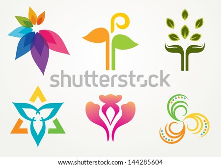 Set of six abstract floral designs