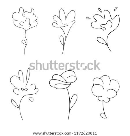 set of six abstract symbols of