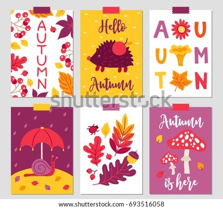 set of six autumn cards with