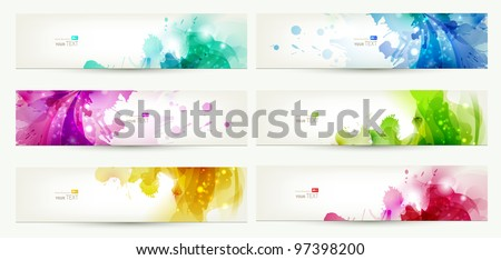 set of six  banners  abstract