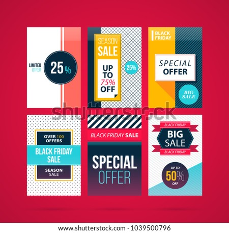 Set of six Black Friday banners/posters in modern flat style on vibrant red background