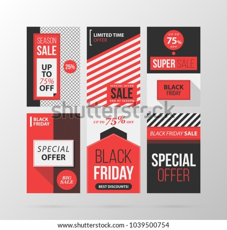 Set of six Black Friday banners/posters in retro black and red style on gray background
