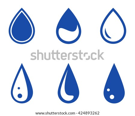 set of six blue isolated