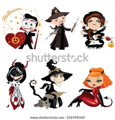 set of six cartoon characters
