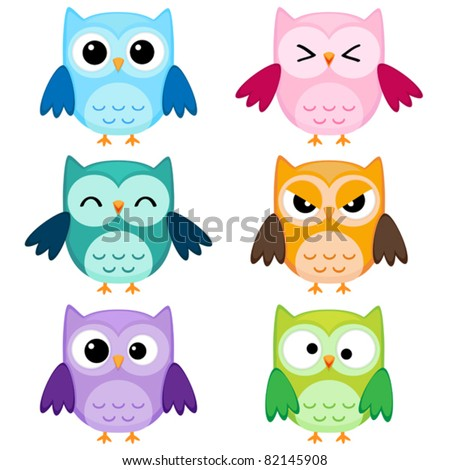 Set of six cartoon owls with various emotions. First set of two. - stock vector