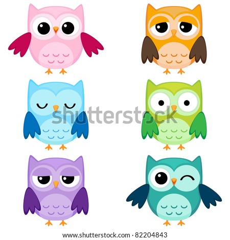 stock vector : Set of six cartoon owls with various emotions. Second set of two.