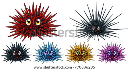 Set of six cartoon sea hedgehogs or urchin of blue, red, yellow, pink and black colors. A vector illustration of marine animals separately on a white background with a transparent shadows. Stockfoto ©