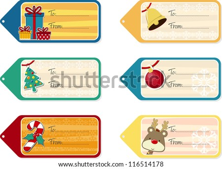 set of six christmas gift tags isolated on white background, vector format very easy to edit, individual objects