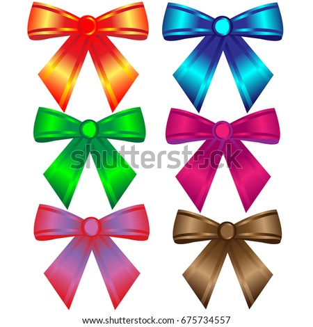 Set of six colorful bows;
