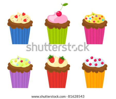 Set of six colorful cupcakes. Vector illustration