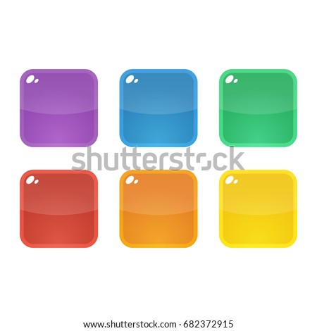 set of six colorful rounded