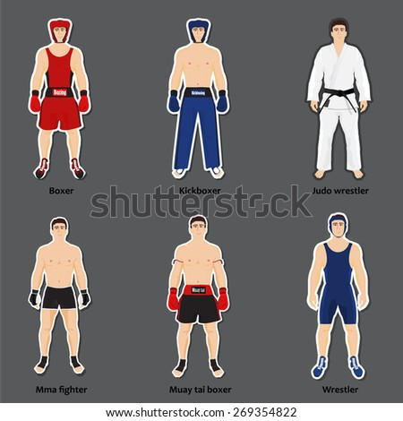 Set of six different fighters in sports equipment