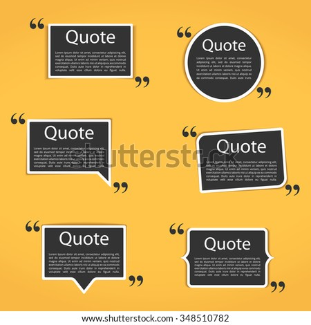 Set of six different frames with quotes for your text, vector eps10 illustration