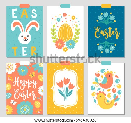 set of six easter cards with