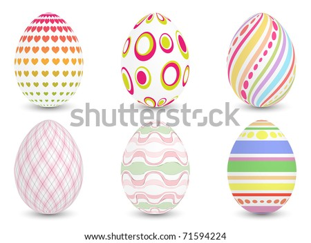 Set of six easter eggs, vector illustration